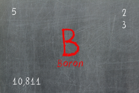 boron: Isolated blackboard with periodic table, Boron, Chemistry