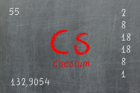 Isolated blackboard with periodic table, Caesium, Chemistry photo