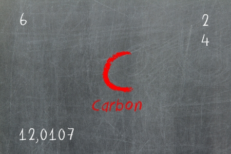Isolated blackboard with periodic table, Carbon, Chemistry photo