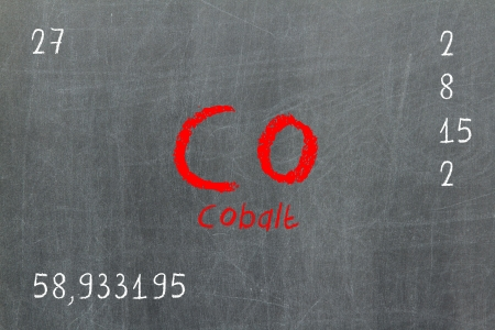 actinoids: Isolated blackboard with periodic table, Cobalt, chemistry