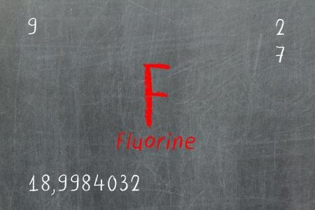Isolated blackboard with pedic table, Fluorine, Chemistry Stock Photo - 16580920