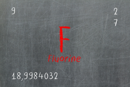 Isolated blackboard with periodic table, Fluorine, Chemistry Stock Photo - 16580920