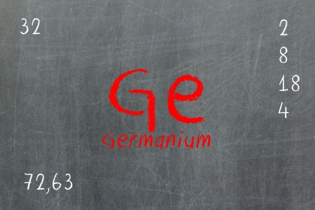 lanthanoids: Isolated blackboard with periodic table, Germanium, chemistry Stock Photo
