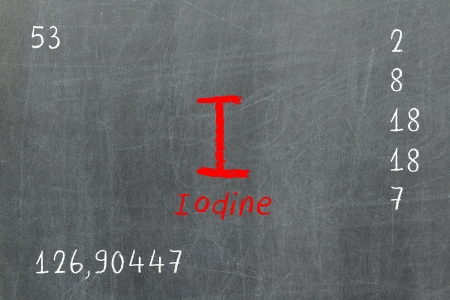iodine: Isolated blackboard with periodic table, Iodine, Chemistry