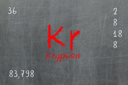 neutrons: Pizarra aislada con la tabla peri�dica, Krypton, qu�mica Foto de archivo