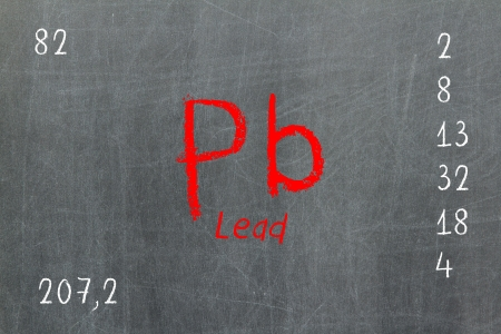 neutrons: Isolated blackboard with periodic table, Chromium, Chemistry Stock Photo