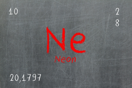 Isolated blackboard with periodic table, Neon, Chemistry photo