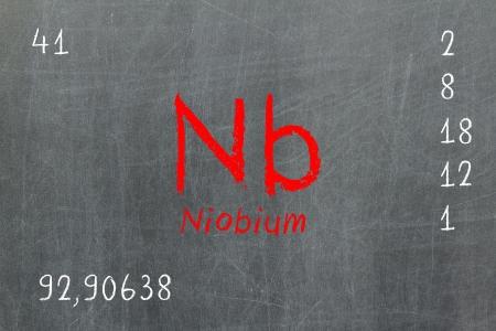 neutrons: Pizarra aislada con la tabla peri�dica, niobio, qu�mica