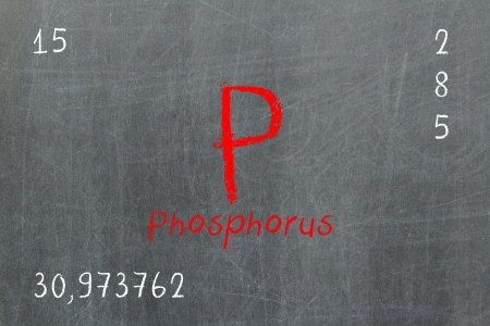 phosphorus: Isolated blackboard with periodic table, Phosphorus, Chemistry Stock Photo