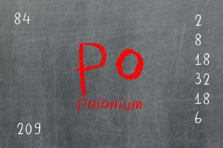actinoids: Isolated blackboard with periodic table, Polonium, Chemistry