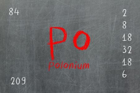 polonium: Isolated blackboard with periodic table, Polonium, Chemistry