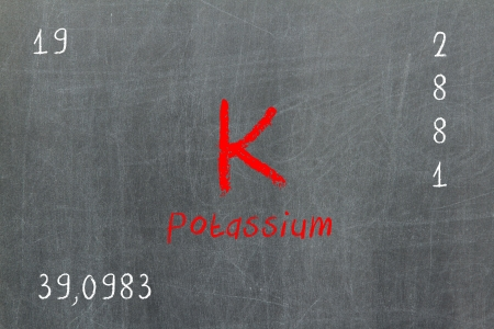 atomic: Isolated blackboard with periodic table, Potassium, Chemistry