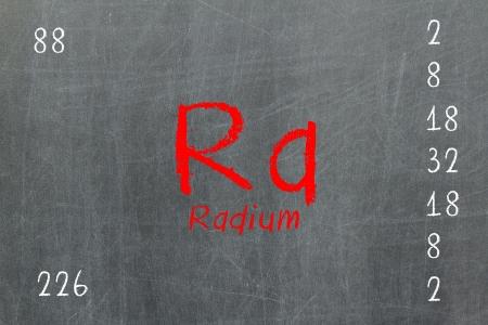 Isolated blackboard with periodic table, Radium, Chemistry Stock Photo - 16580822