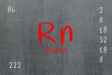 Isolated blackboard with periodic table, Radon, chemistry photo