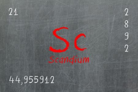 lanthanoids: Isolated blackboard with periodic table, Scandium, chemistry
