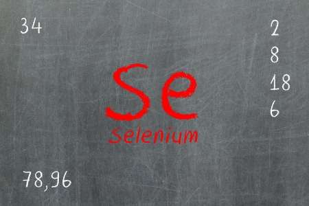 Isolated blackboard with periodic table, Selenium, Chemistry photo