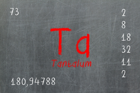 Isolated blackboard with periodic table, Tantalum, Chemistry Stock Photo - 16580885