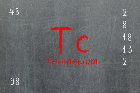 Isolated blackboard with periodic table, Technetium, chemistry photo