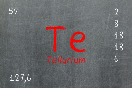 Isolated blackboard with periodic table, Tellurium, Chemistry photo