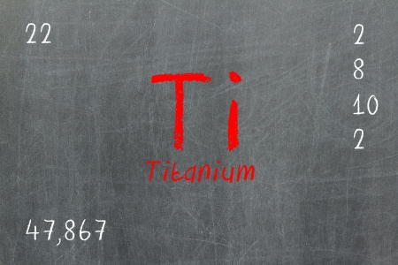 Isolated blackboard with periodic table, Titanium, chemistry photo