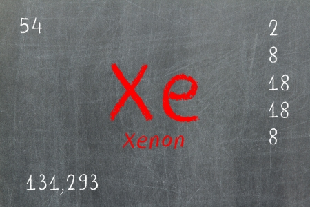 lanthanoids: Isolated blackboard with periodic table, Xenon, Chemistry Stock Photo