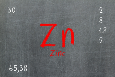 atomic: Isolated blackboard with periodic table, Zinc, Chemistry