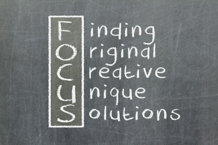 Focus acronym for Finding, Original, Creative, Unique, Solutions photo