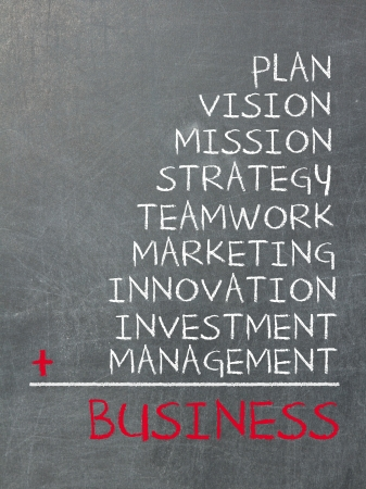 investment vision: Concept of business consists of plan, vision, mission, strategy, marketing, teamwork, innovation, investment and management