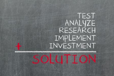 implement: Concetto di soluzione consiste di prova, l'analisi, la ricerca, l'attuazione e gli investimenti