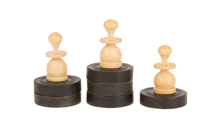 battle plan: Pawns on checkers, concept of winning a game Stock Photo