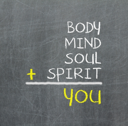 persoonlijke groei: U, lichaam, geest, ziel, geest - een eenvoudige geest kaart voor persoonlijke groei Stockfoto