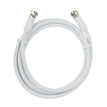White coaxial TV cable with F connector, isolated Stock Photo - 16804648