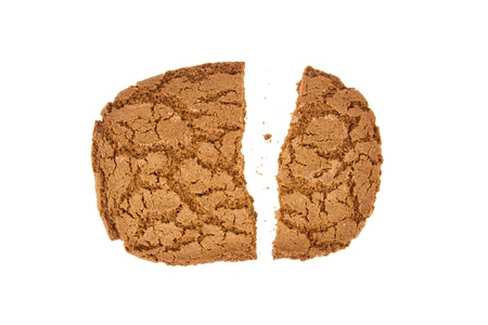 Broken speculaas biscuit, speciality from Holland, isolated on white Stock Photo - 16804729