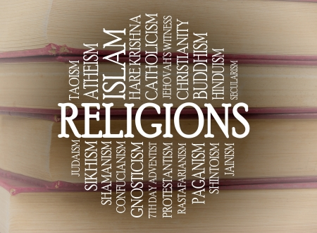 godlike: Religions word cloud with a books background Stock Photo