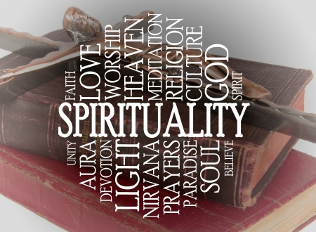 godlike: Spirituality word cloud with a religious background
