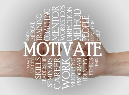 business ethics: Motivate cloud concept with a motivate background