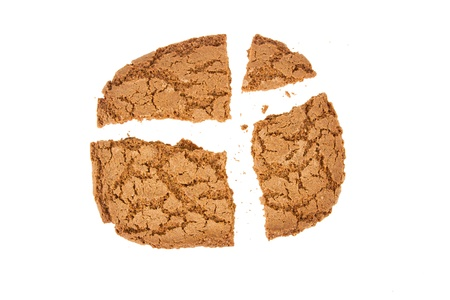 Broken speculaas biscuit, speciality from Holland, isolated on white photo