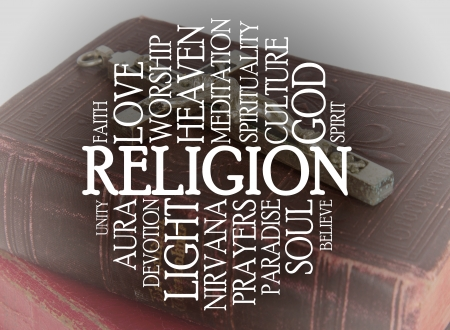 Religion word cloud with a religious background photo