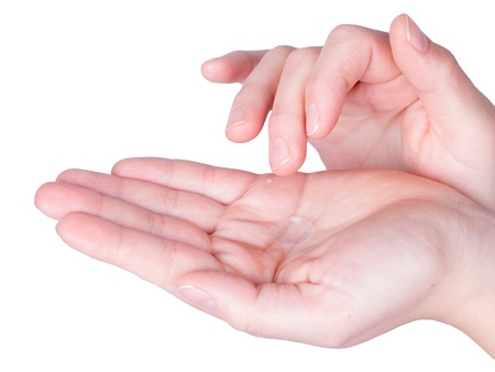 Woman holds a Contact Lens on her hand
