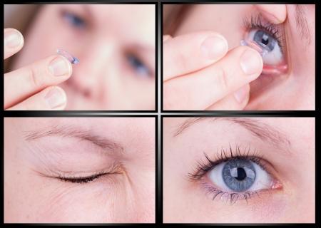 Vers le haut de l'insertion d'une lentille de contact dans l'oeil femelle, fotoseries