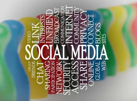 Word cloud social media with a social media background Stock Photo - 16906585