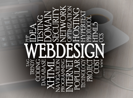 website words: Word cloud webdesign concept with a webdesign background Stock Photo
