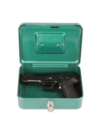 9mm pistol in a metal case, isolated on white Stock Photo - 16935154