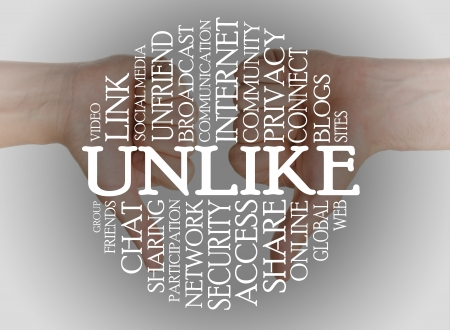 Word cloud social media with a thumbs down background Stock Photo - 16989299