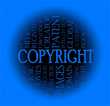 Copyright word cloud concept with a colorful background photo