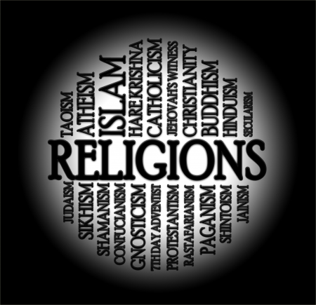 godlike: Religions word cloud with a black background Stock Photo