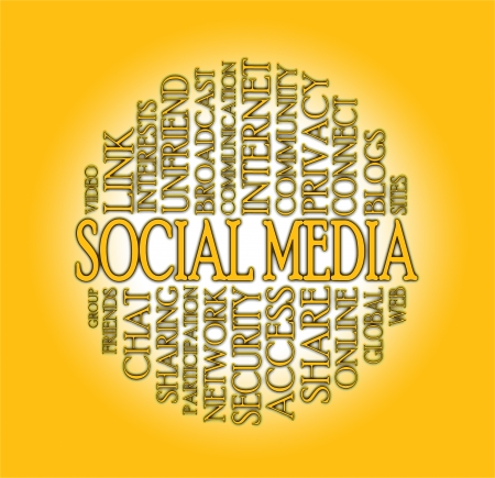 Word cloud social media with a colorful background Stock Photo - 17223569
