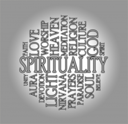Spirituality word cloud with a grey background Stock Photo - 17223553