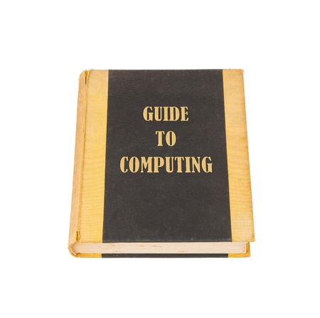 Old book with a computing concept title, white background Stock Photo - 17272646