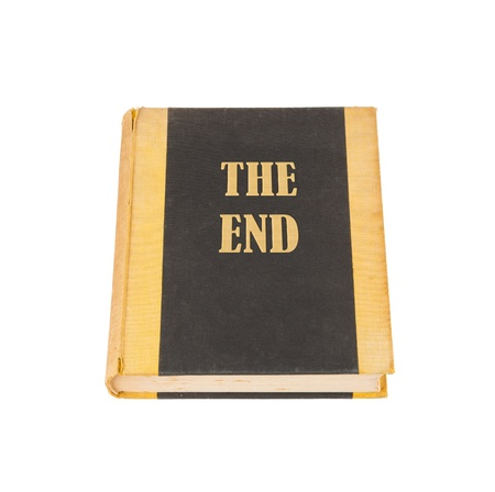 chapter: Old book with the title The End, white background